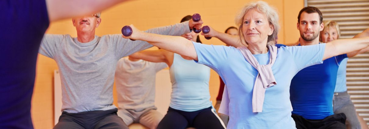 Older people in a group exercise class