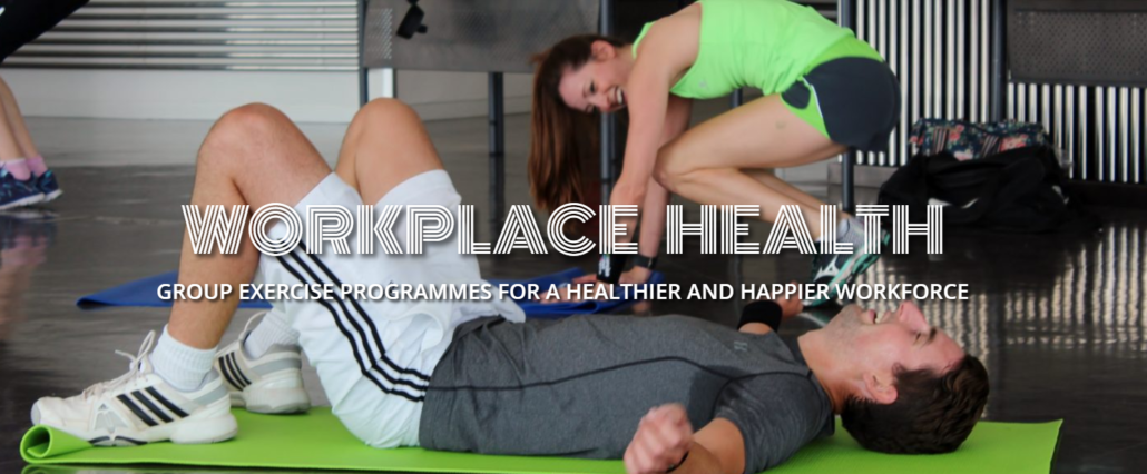 EMD UK Workplace Health homepage featuring employees at a group exercise class