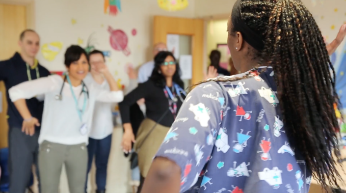 Hospital staff and patients enjoying a Barnet Bopping session led by nurse Karelle Evans
