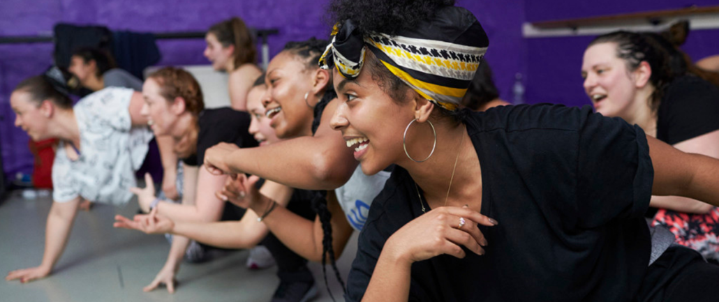 Women enjoying a dancehall dance class