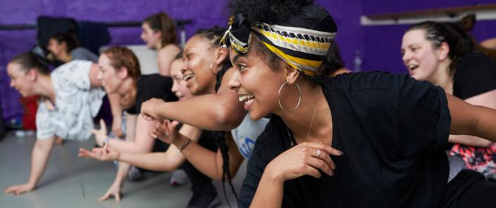 Women enjoying a dancehall dance class